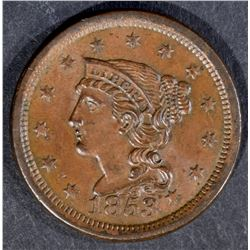 1853 LARGE CENT, CH BU