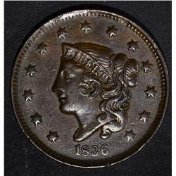 1836 LARGE CENT, AU+