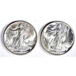 1943 & 44 WALKING LIBERTY HALF DOLLARS, CH BU