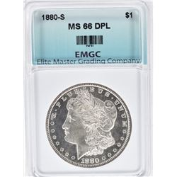 1880-S MORGAN DOLLAR, EMGC SUPERB GEM BU DPL