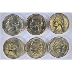 6-BU 1944-D SILVER JEFFERSON NICKELS