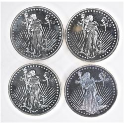 """4-""""STANDING LIBERTY"""" ONE OUNCE .999 SILVER ROUNDS"""