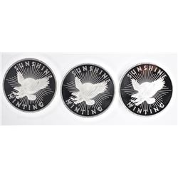 3-SUNSHINE MINT ONE OUNCE .999 SILVER ROUNDS