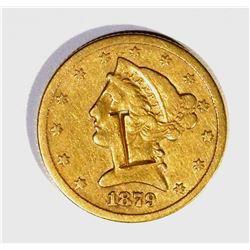 "1879-CC $5.00 GOLD LIBERTY, VF ""L"" COUNTERSTAMP"