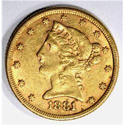 1881 $5.00 GOLD LIBERTY, XF/AU