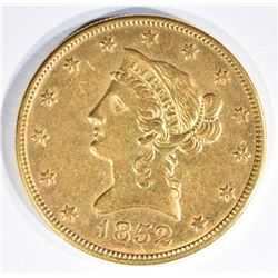 1852-O $10 GOLD LIBERTY BU OLD CLEANING