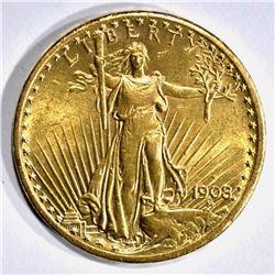 1908-S $20.00 ST GAUDENS GOLD, CH BU