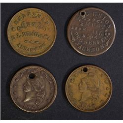 4 CIVIL WAR TOKENS; ALL HOLED,