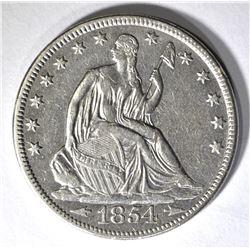 1854 ARROWS SEATED HALF DOLLAR, XF