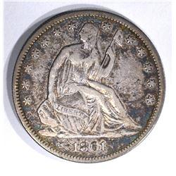 1861 SEATED HALF DOLLAR, XF
