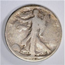 1921 WALKING LIBERTY HALF DOLLAR, G/VG