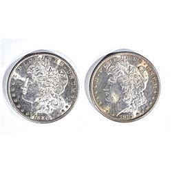 1880-S & 81-S MORGAN DOLLARS, CH BU FLASHY!