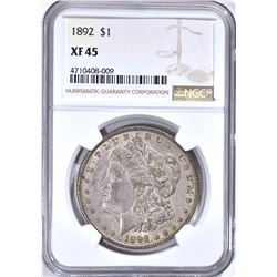 1892 MORGAN DOLLAR, NGC XF-45