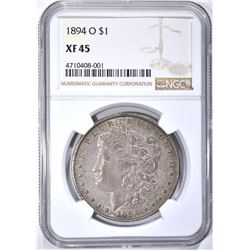1894-O MORGAN DOLLAR, NGC XF-45
