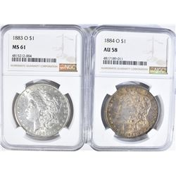 NGC GRADED MORGAN DOLLARS 1883-O MS-61-84-O AU-58