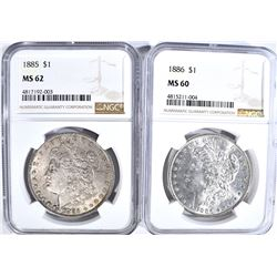 NGC GRADED MORGAN DOLLARS 1885 MS-62 & 86 MS-60