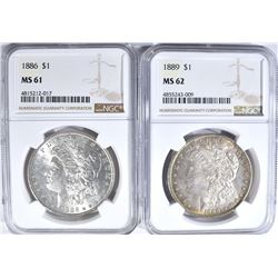 NGC GRADED MORGAN DOLLARS 1886 MS-61 & 89 MS-62