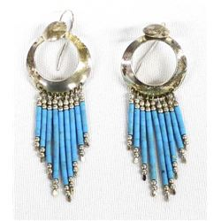 Navajo Sterling Silver & Turquoise Bead Earrings