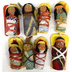 8 Vintage Skookum Mailer Dolls