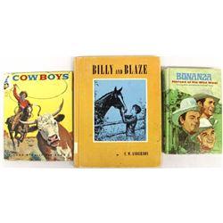3 Vintage Western Cowboy Hardback Books