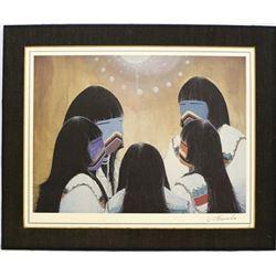 Native American Navajo Shalako Print by Clifford Brycelea