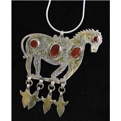 Turkoman Silver & Gold Wash Horse Pendant Necklace