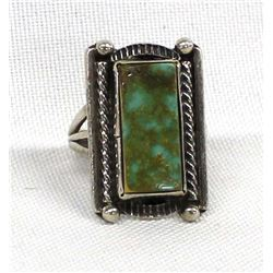 Navajo Sterling & Nevada Green Turquoise Ring, 7.5