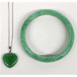 Jade Bangle Bracelet and Jade Heart Necklace