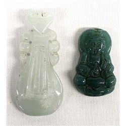 2 Oriental Carved Jade Pendants