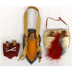 3 Vintage Souvenir Native American Dolls