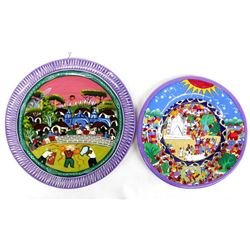 2 Hand Painted Mexican Pottery Plates
