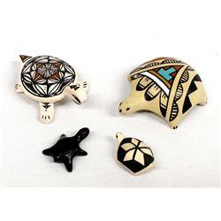4 Native American Pueblo Pottery Turtles