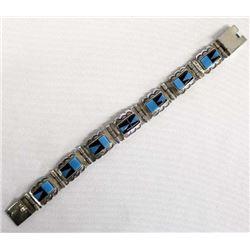 Sterling Silver Jet and Turquoise Link Bracelet