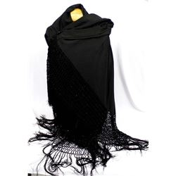 Large Beautiful Black Fringed Shawl