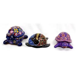 3 Ethnic Folk Art Turtles