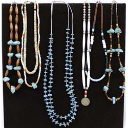 7 Native American Sterling & Bead Necklaces