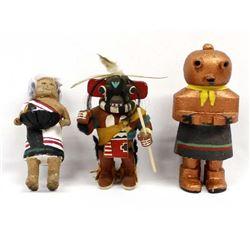 3 Native American Kachina Dolls