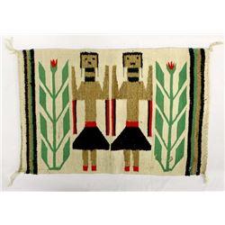Vintage Native American Navajo 2 Yei Wool Rug