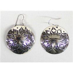 Navajo Sterling Silver Stamped Concho Earrings