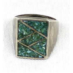 Vintage Navajo Sterling Chip Inlay Turquoise Ring