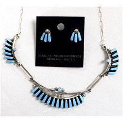 Zuni Sterling Turquoise Necklace and Earrings Set