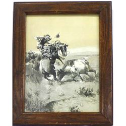 Vintage Framed Charles M. Russell Print
