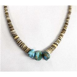 Navajo Sterling Turquoise Nugget & Heishi Necklace