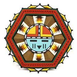 Colorful Hopi Sun God ''Dawa'' God's Art Yarn Plaque
