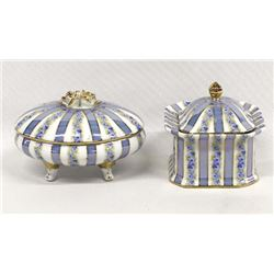 2 Gold Gilt Fine Porcelain Lidded Trinket Boxes