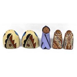 2sets Native salt&pepper shakers &Cochiti figure