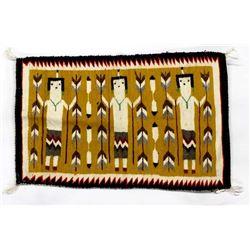 Native American Navajo Yei Wool Textile Rug