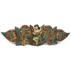 Vintage Italian Carved Wood Angel Plaque