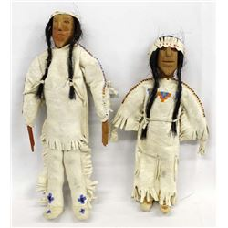 2 Native American Plains Indian Wood Dolls