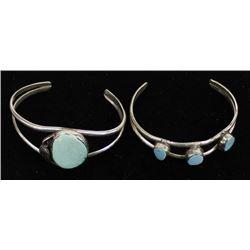 2 Navajo Sterling Turquoise Bracelets